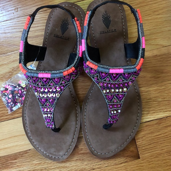 🎉HP 🎉 🌸💜Beaded Leather Gladiator Sandals 💜🌸